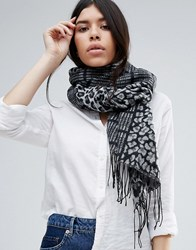Lipsy Oversized Knitted Scarf In Tartan And Leopard Mix Grey