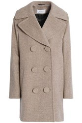 Pringle Double Breasted Wool And Cashmere Blend Felt Coat Beige
