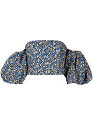 Camilla And Marc Majella Printed Strapless Top Blue
