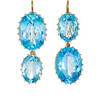 Renee Lewis Women's Mismatched Topaz Double Drop Earrings No Color