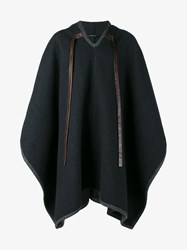 Dolce And Gabbana Virgin Wool Cashmere Blend Hooded Cape Grey Brown