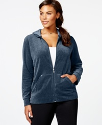 Style And Co. Sport Plus Size Studded Sleeve Active Jacket Only At Macy's Prussian Red Velour