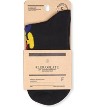 Chocoolate Patterned Ankle Socks Black