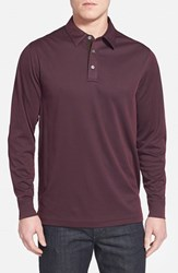 Men's John W. Nordstrom Long Sleeve Pique Polo With Faux Suede Trim Burgundy Stem