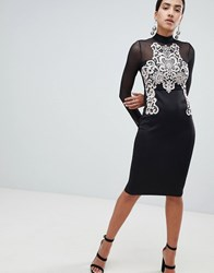 Ax Paris Long Sleeve Bodycon Dress With Contrast Lace Detail Black
