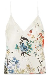 Meng Floral Print Silk Satin Camisole White