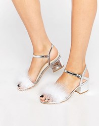 Truffle Collection Faux Feather Mid Block Heeled Sandals Silver