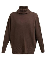 Allude Roll Neck Cashmere Sweater Brown