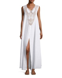 Miguelina Lana Lace Bib Maxi Dress Pure White