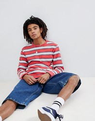 Brixton Hilt Washed Long Sleeve Striped T Shirt With Pocket Red