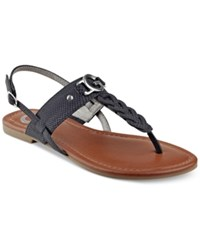 G By Guess Lorrie T Strap Flat Sandals Women's Shoes Black