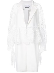Co Mun Embroidered Sleeves Coat White