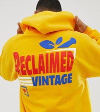 Reclaimed Vintage Inspired Oversized Hoodie With Supermarket Logo Print Yellow