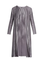 Issey Miyake Collarless Pleated Coat Grey