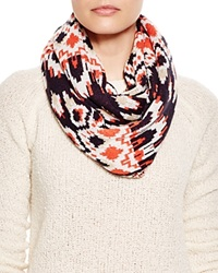Aqua Ikat Loop Scarf Navy Bright Red Ivory Sand