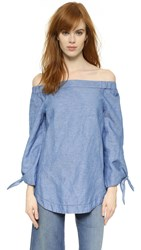 Free People Show Me Some Shoulder Blouse Chambray