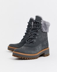 Timberland Courmayeur Valley Shearling Ankle Boots In Gray