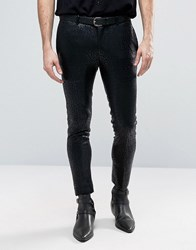 Asos Extreme Super Skinny Smart Trousers In All Over Leopard Print Black