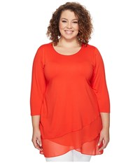 Vince Camuto Specialty Size Plus 3 4 Sleeve Asymmetrical Chiffon Hem Top Dynamic Red Women's Clothing Orange