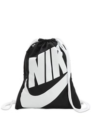 Nike Heritage Nylon Drawstring Backpack Black White