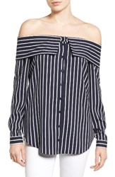 Pleione Women's Off The Shoulder Shirt Navy White Stripe
