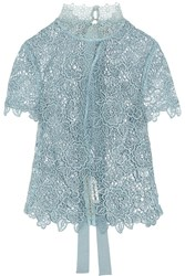 Self Portrait Guipure Lace Open Back Top Sky Blue