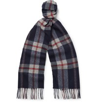 Begg And Co Jura Checked Lambswool Cashmere Blend Scarf Blue