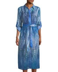 T Tahari Collared Ombre Feather Print Dress Blue