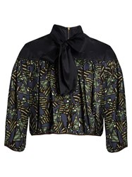 Kolor Tie Neck Geometric Print Satin Top Green Multi