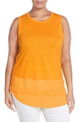 Plus Size Women's Michael Michael Kors Sleeveless Tiered Mixed Media Top Sunflower
