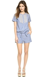 Maison Scotch Special Chambray Romper Blue
