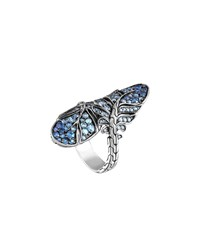 John Hardy Silver Feather Lava Sapphire Gradient Bypass Ring Blue