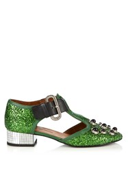 Toga Mirrored Heel Glitter Shoes Green