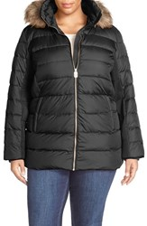 Plus Size Women's Michael Michael Kors Down And Feather Fill Coat With Detachable Faux Fur Trim Hood Black
