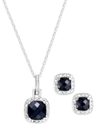 Victoria Townsend Sapphire 3 Ct. T.W. And Diamond Accent Jewelry Set In Sterling Silver