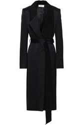Chalayan Woman Satin And Crepe De Chine Paneled Coat Midnight Blue
