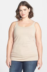 Plus Size Women's Sejour New Slim Strap Tank Tan Oxford