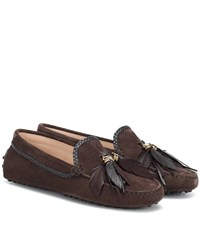 Tod's Gommino Suede Loafers Brown