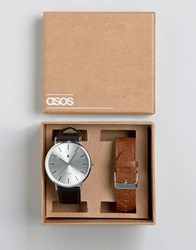 Asos Interchangeable Watch In Tan And Black Multi
