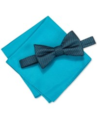 Alfani Men's Venus Neat Bow Tie And Solid Pocket Square Set Only At Macy's Aqua