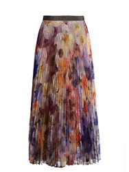 Christopher Kane Pansy Embroidered Pleated Tulle Midi Skirt Multi