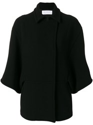 Gianluca Capannolo Flared Sleeve Coat Women Nylon Spandex Elastane Virgin Wool 44 Black