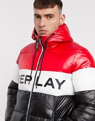 Replay Big Logo Puffer Jacket In Black And Red Multi