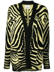 Laneus Zebra Pattern Cardigan Yellow