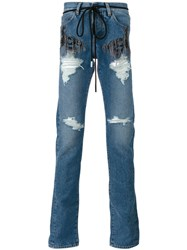 Off White 'Diag' Slim Jeans Men Cotton Polyester 31 Blue