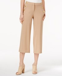 Kensie Cropped Button Detail Pants Honey Wheat