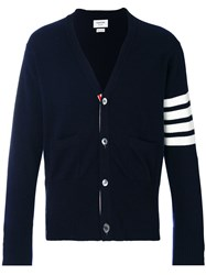 Thom Browne V Neck Cardigan With 4 Bar Stripe In Navy Cashmere Blue