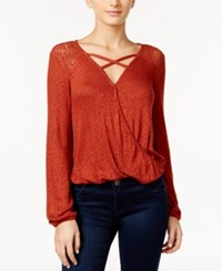 American Rag Mesh Inset Surplice Top Only At Macy's Burnt Henna