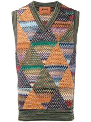 Missoni Knitted Zig Zag Vest Multicolour