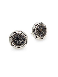 John Hardy Black Sapphire And Sterling Silver Button Earrings